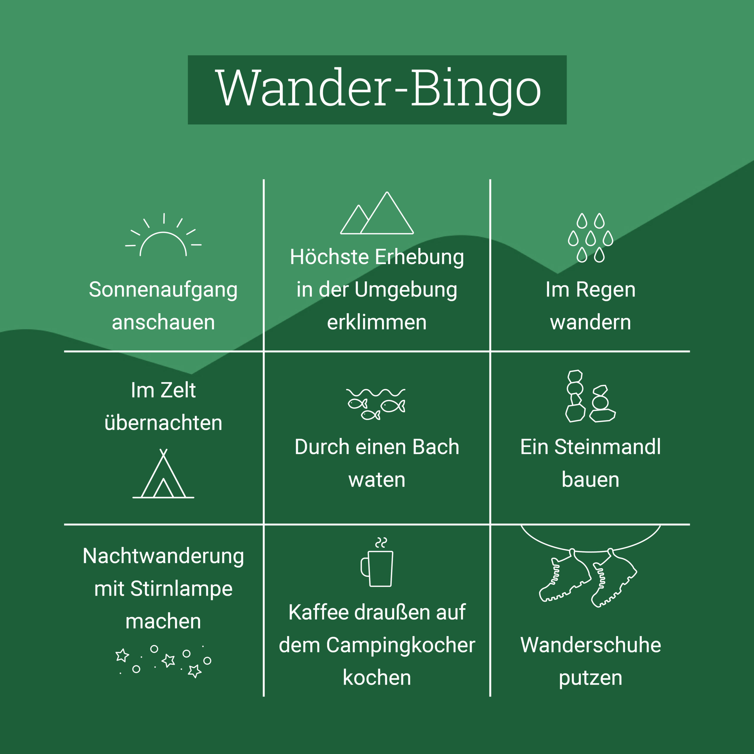 Bergzeit Bingo: Wandern